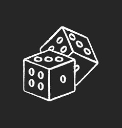 Dice games chalk white icon on black background vector