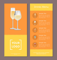 Drinks menu advertisement poster with champagne vector
