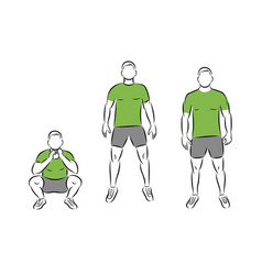 Exercise squat and jump man in gym image vector