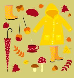 fall warm autumn set vector image