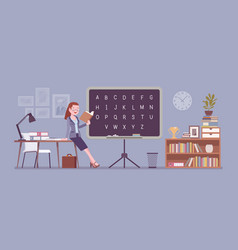 female teacher stands at the blackboard vector image