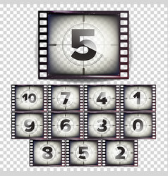 film countdown numbers 10 - 0 monochrome vector image