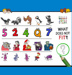 Find mismatched picture in a row educational game vector