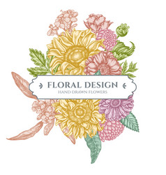 floral bouquet design with pastel poppy flower vector image