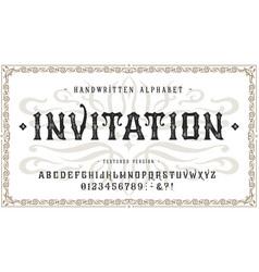 font invitation craft vintage typeface design vector image