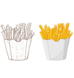 french fries in a paper cup hand drawn sketch vector image vector image