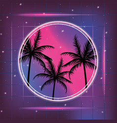 Galaxy with geometric style and palms label vector