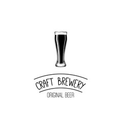 Glass beer craft beer brewery label logo emblem vector