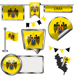 Glossy icons with flag of lima vector