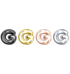 Golden foil balloon inflated alphabet symbol g vector