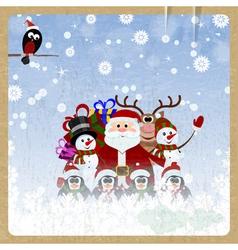 Greeting Christmas card with Santa Claus vector image