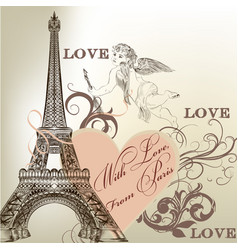 Greeting valentine card with detailed eiffel tower vector