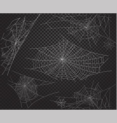 halloween net ans spiders silhouettes vector image
