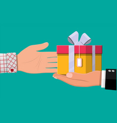 hand giving gift box to other hand vector image