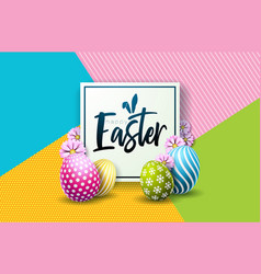 Happy easter holiday design with painted egg and vector