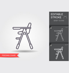 High chair for feeding baby line icon with vector