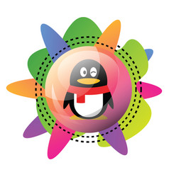 icon qq logo design with colorful graphics icon vector image