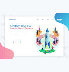 isometric businnes start up for web page banner vector image