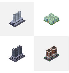 Isometric urban set of tower house water storage vector