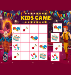 Kids maze game circus sudoku with clown and tamer vector