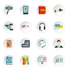 learning foreign languages icons set flat style vector image