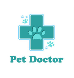 logo of the pharmacy for the animals cross vector image