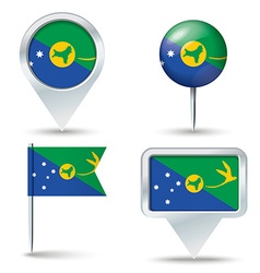 Map pins with flag of Christmas Island vector