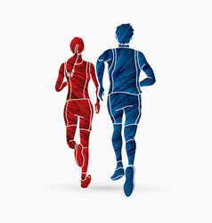 Marathon runner couple running together vector