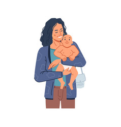 Mother holding newborn kid on hands wearing diaper vector
