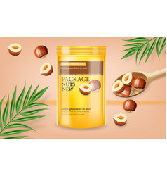 nuts package realistic mock up label vector image