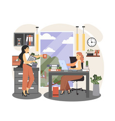 office people lifestyle two business women taking vector image
