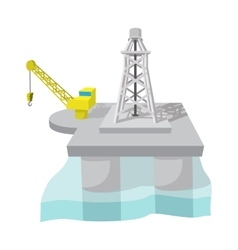 Oil derrick in sea cartoon vector image