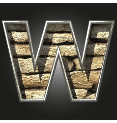 Old stone letter w vector