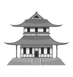 Pagoda icon gray monochrome style vector