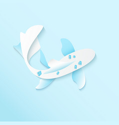 paper blue fish greeting card paper design vector image