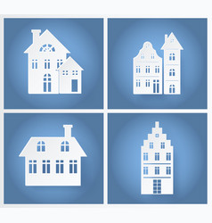 Paper buildings silhouettes vector