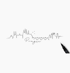 Pen line silhouette prague vector