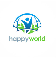people happy world logo vector image