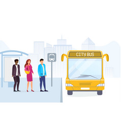 People on bus stop standing in line vector