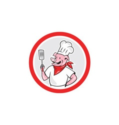 Pig Chef Cook Holding Spatula Circle Cartoon vector image