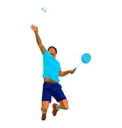 Polygonal professional badminton player doing vector