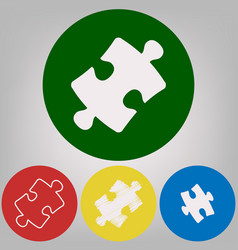 Puzzle piece sign 4 white styles of icon vector
