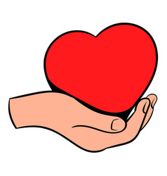 red heart in hand icon icon cartoon vector image