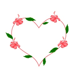 Red Hibiscus Flowers in A Heart Shape vector image