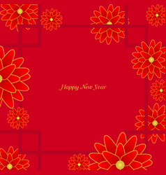 Red lucky chinese flower frame vector