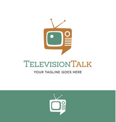 Retro tv shaped talk bubble logo vector