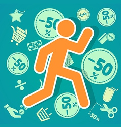 Run shopping 50 vector image