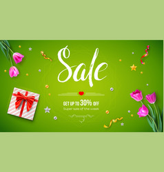 sale get up 30 percent off spring sale voucher vector image
