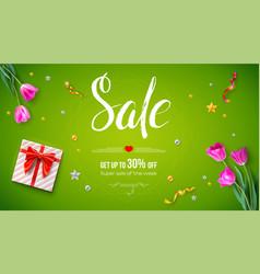 Sale get up 30 percent off spring voucher vector