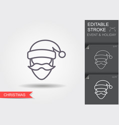 santa claus line icon with editable stroke with vector image